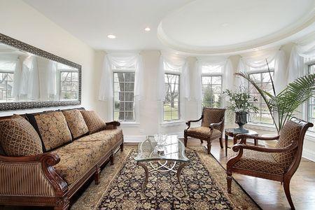 sala de estar: Sala de estar en casa con techo oval de lujo