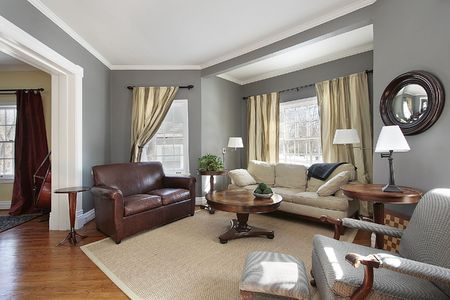 living room interior: Living room in suburban home with gray walls Stock Photo