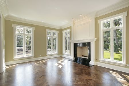 Living room in new construction home with fireplace Stock Photo - 6738858