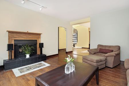 Living room in condominium with black fireplace photo