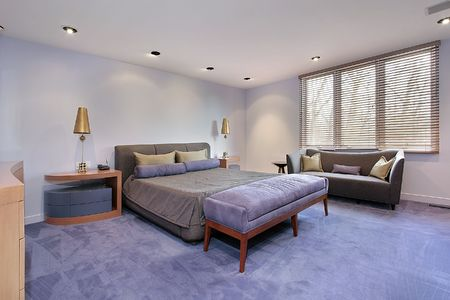 Master bedroom in luxury home with lavendar carpeting Stock Photo - 6738880