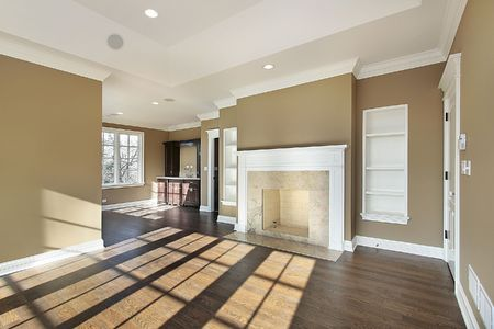 Master bedroom in new construction home with fireplace Imagens