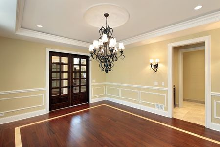 fixtures: Dining room in new construction home with trey ceiling