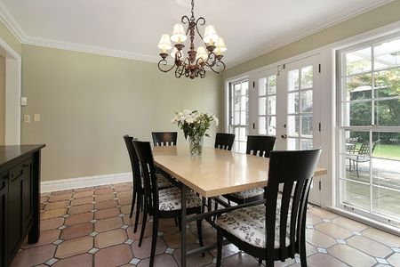 Dining room in luxury home with floor pattern Stock Photo - 6738294