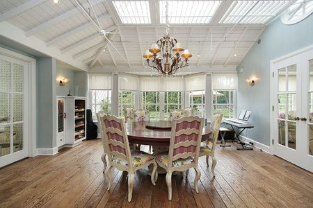 eating area: Eating area in luxury home with skylights Stock Photo