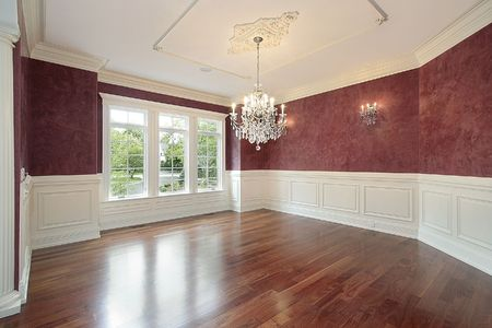 Dining room in new construction home with red walls Stock Photo - 6738386