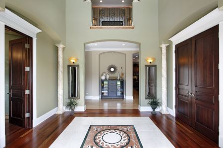 Foyer in luxury home with balcony and floor design photo