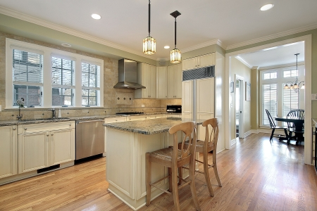 granite: Kitchen in luxury home with granite island Stock Photo