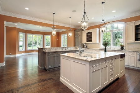 island: Kitchen in luxury home with granite island Stock Photo