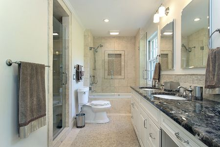 master bath: Master bath in contemporary home with glass shower