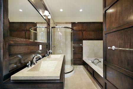 holzvert�felung: Master-Bad im Neubau Haus mit Holzverkleidung