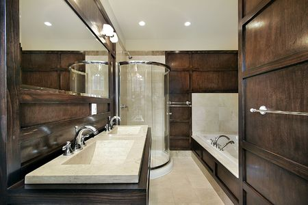 Master bath in new construction home with wood paneling photo