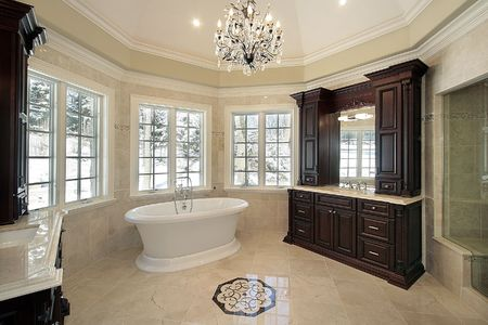 bathroom interior: Master bath in new construction home with white tub