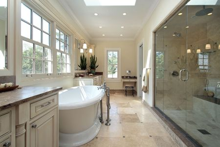 bathroom interior: Master bathroom in new construction home with large tub