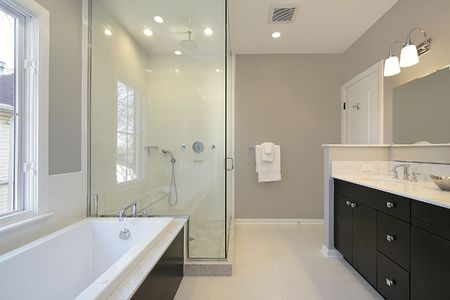 Master bath in new construction home with glass shower Stock Photo - 6738338