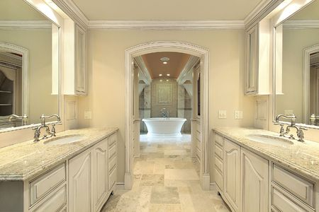 Modern master bath in new construction home with large tub Stock Photo