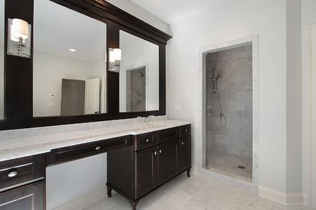Master bath in new construction home with mahogany cabinetry Stock Photo - 6738248