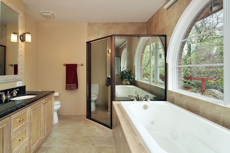Master bath in suburban home with arched window Stock Photo - 6738257