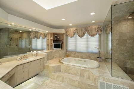 master bath: Master bath in luxury home with step up tub