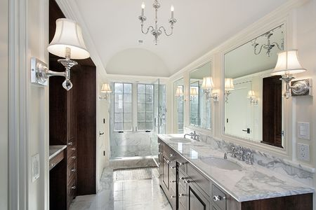 Master bath in new construction home with marble shower photo