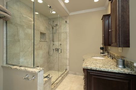Master bath in luxury home with glass shower Stock Photo - 6738251