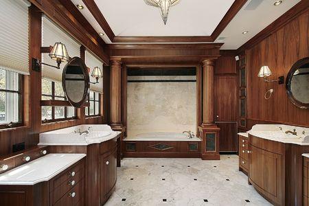 comtemporary: Luxury master bath in comtemporary suburban home Stock Photo