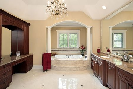 Master bath in new construction home with tub columns Stock Photo - 6738306