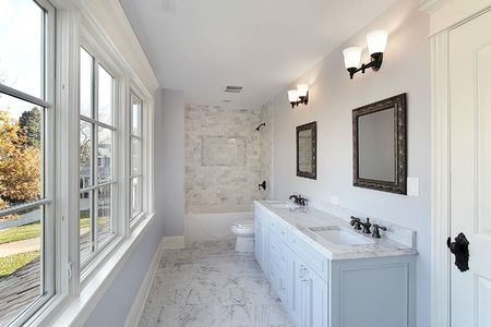 double sink: Bath in new construction home with double sink Stock Photo