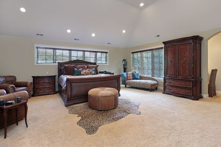 Master bedroom in luxury home with tray ceiling Stock Photo - 6738422