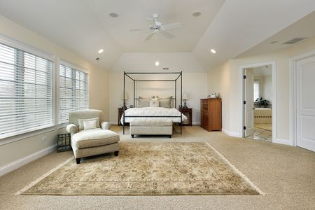 Master bedroom in luxury home with tray ceiling photo