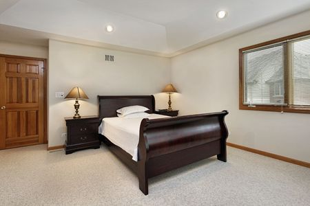 Bedroom in suburban home with tray ceiling Stock Photo - 6739058