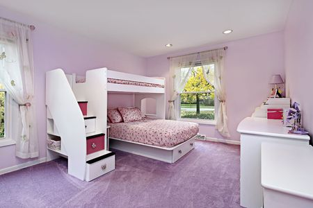 bed room: Girls room in suburban home with bunk bed Stock Photo