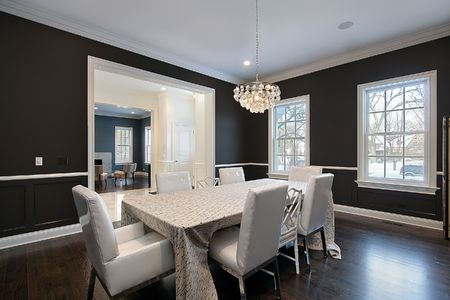 Dining room in luxury home with foyer view photo
