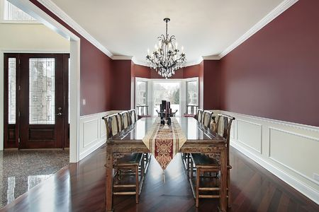 Dining room in luxury home with foyer view Stock Photo - 6738330