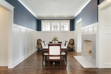Dining room in new construction home with fireplace Stock Photo - 6738346