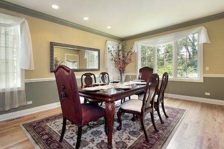 Dining room in new construction home with yellow and green walls Stock Photo - 6738407