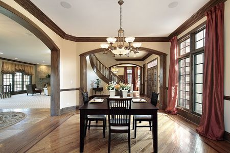 Dining room in luxury home with foyer view Stock Photo - 6738628