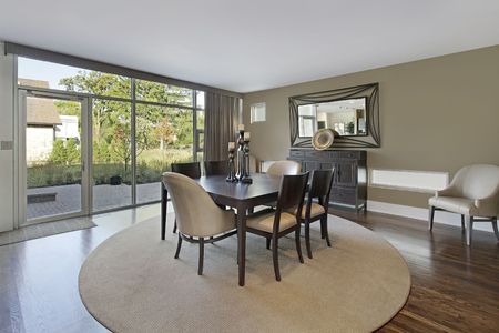 dining room: Dining room in upscale townhouse with patio view