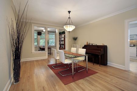 Dining room in condo with office area photo