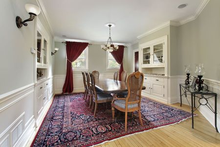 Dining room in upscale home with built-ins photo
