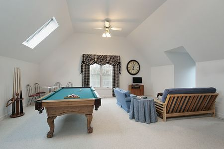 Play room in luxury home with pool table photo
