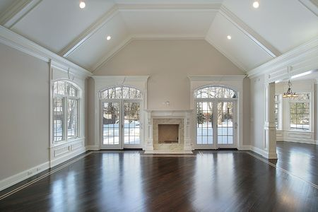 Family room in new construction home with outside view photo