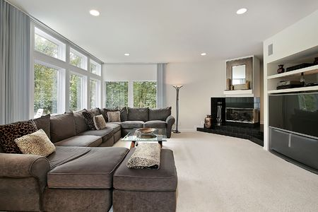 Family room in luxury home with black fireplace Stock Photo - 6738230