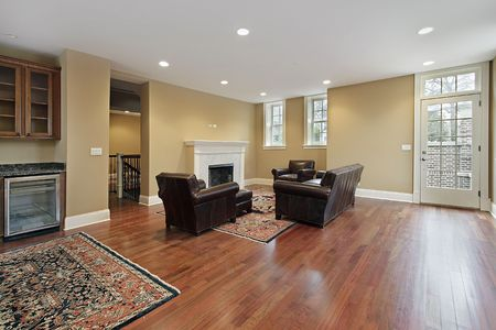 hardwood: Family room in new construction home with cherry wood floors