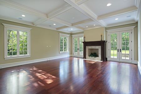 Family room in new construction home with fireplace photo