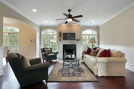 Familly room in luxury home with fireplace photo
