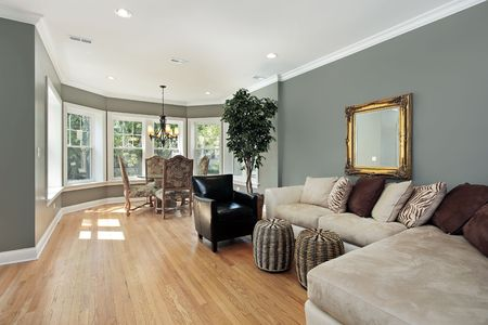 rug: Family room in condo with rounded table area