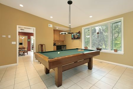pool room: Pool room in suburban home with kitchen view