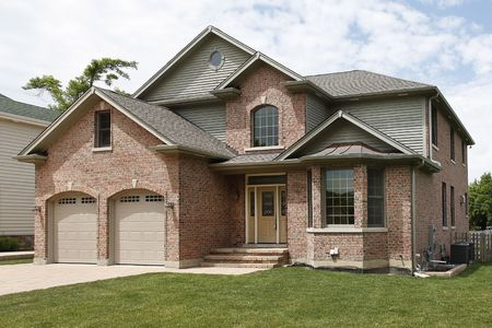 Front view of new construction brick home photo