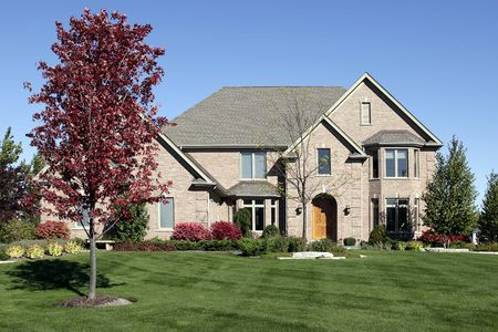 Large brick home in suburbs with arched entry Stock Photo - 6739309